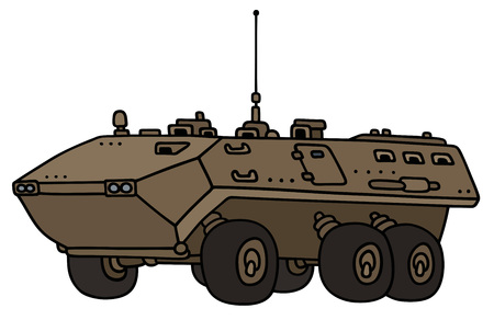 troop: Hand drawing of a sand wheeler troop carrier - not a real model Illustration