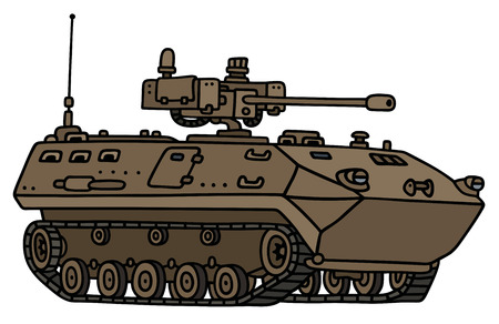 armored: Hand drawing of a sand track armored vehicle - not a real model
