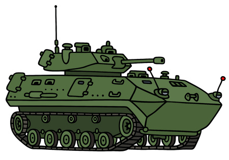 armoured: Hand drawing of a green track armored vehicle - not a real model