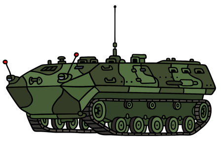 vehicle combat: Hand drawing of a green camouflage track troop carrier - not a real model
