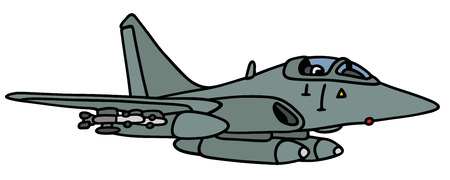 fly cartoon: Hand drawing of a gray fighter - not a real type Illustration