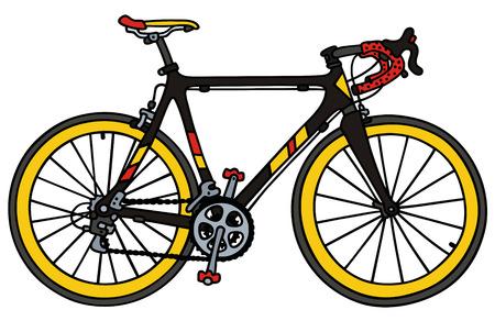 Hand drawing of a black road racing bike Vettoriali