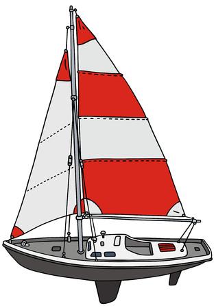 sailer: Hand drawing of a small sailing yacht
