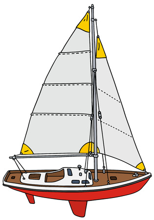 sailing yacht: Hand drawing of a small sailing yacht