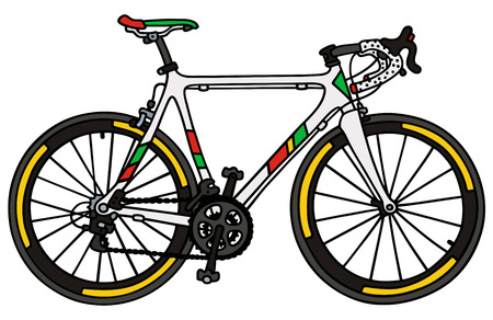 Hand drawing of a white road racing bike