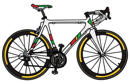 bicicleta vector: Gráfico de la mano de una bicicleta de carreras blanco