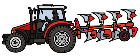 plow: Hand drawing of a tractor with a plow - not a real model