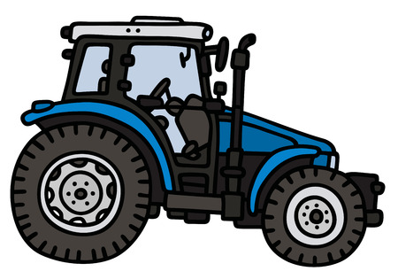 agronomic: Hand drawing of a blue tractor - not a real model