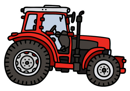 agronomic: Hand drawing of a red tractor - not a real model Illustration