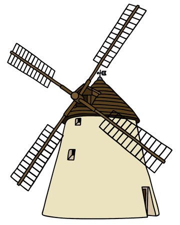wood agricultural: Hand drawing of an old stone windmill Illustration