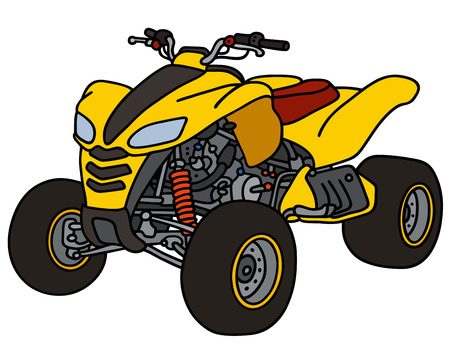 Hand drawing of a yellow all terrain vehicle  イラスト・ベクター素材