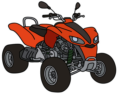 terrain: Hand drawing of a red all terrain vehicle