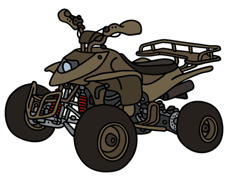 4wd: Hand drawing of an olive All Terrain Vehicle Illustration