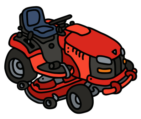 Hand drawing of a red garden lawn mower - not a real type