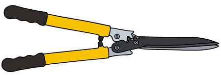 secateur: Hand drawing of a yellow hedge shears Illustration