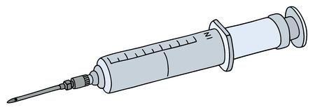 hypodermic needle: Hand drawing of a big plastic syringe