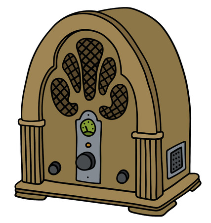 receiver: Hand drawing of a vintage vacuum tube radio receiver Illustration