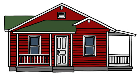 small house: Hand drawing of a dark red wooden small house Illustration