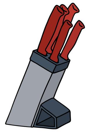 cocina caricatura: Dibujo a mano un conjunto rojo de cuchillos de cocina Vectores