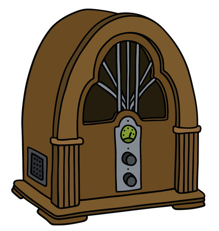 Hand drawing of a vintage vacuum tube radio receiver Illustration