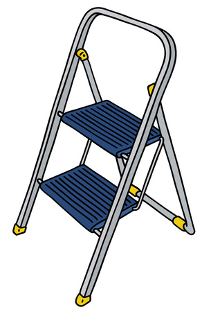 Hand drawing of a small metal stepladder