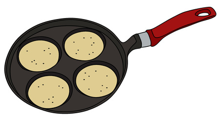 cartoon kitchen: Gr�fico de la mano de una plancha con las crepes