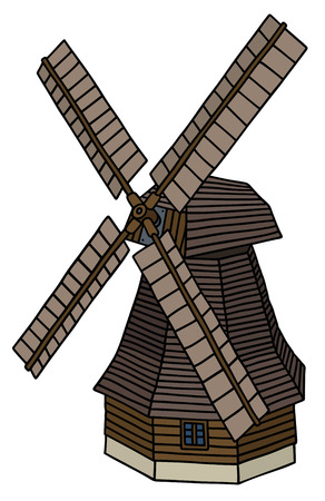 wood agricultural: Hand drawing of an old dark wooden windmill