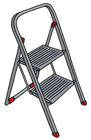 stepladder: Hand drawing of a small metal stepladder
