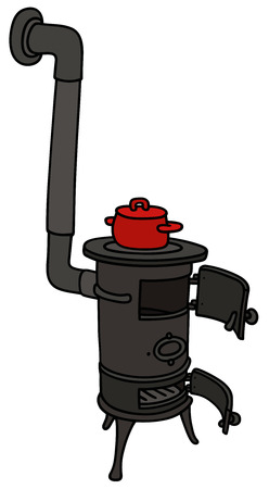 smoke stack: Hand drawing of an old small stove with a red pot Illustration