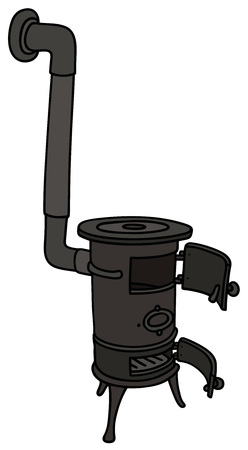 Hand drawing of an old opened small stove