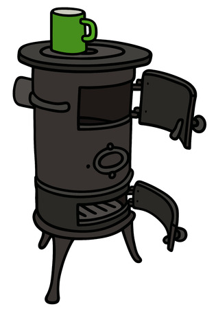 watter: Hand drawing of an old stove with a small green pot