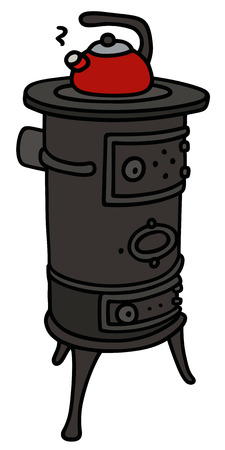 Hand drawing of an old stove with a teapot Illustration