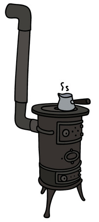 Hand drawing of an old small stove