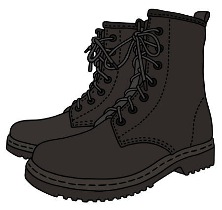 army boots: black leather boots