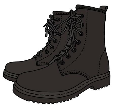 czarne skórzane buty