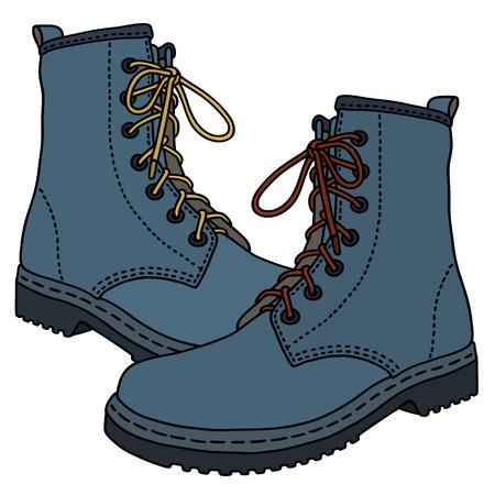 grappige blauwe lederen laarzen