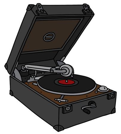 gramophone:  vintage portable gramophone Illustration