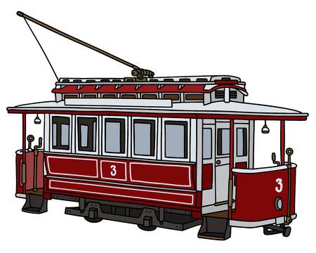 tramway:  vintage red tramway Illustration