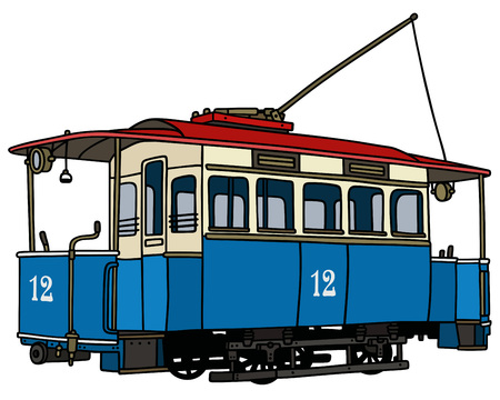 tramway: Hand drawing of a vintage blue tramway