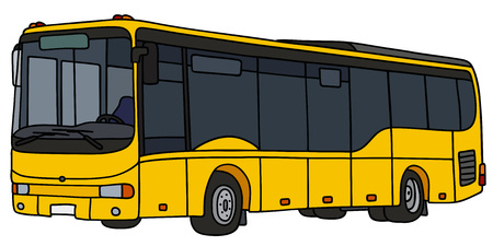 cartoon land: yellow city bus