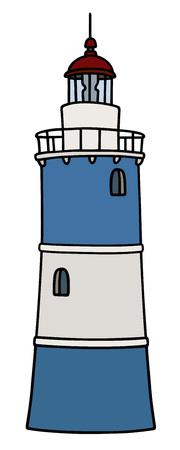 pylon: old blue and white lighthouse
