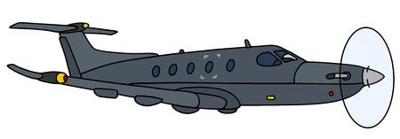 Hand drawing of a dark propeller aircraft