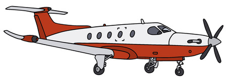propeller: Hand drawing of a red small propeller airliner Illustration