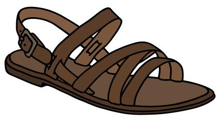 sandalia: Gráfico de la mano de la sandalia de cuero de la mujer