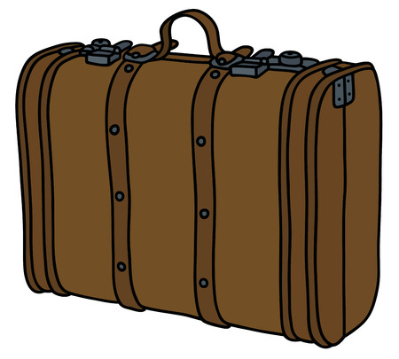 satchel: Hand drawing of a vintage leather suitcase