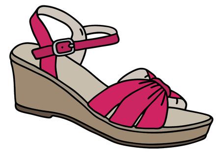 sandal: Gr�fico de la mano de la sandalia de la mujer p�rpura