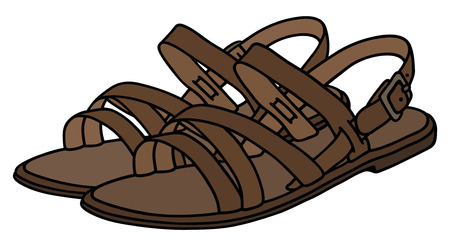 Hand drawing of a woman's leather sandals Illustration