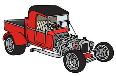 hot rod: Hand drawing of a funny red hot rod
