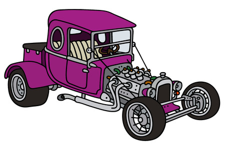hot rod: Hand drawing of a funny violet hot rod Illustration