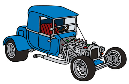 oldtimer: Hand drawing of a funny blue hot rod